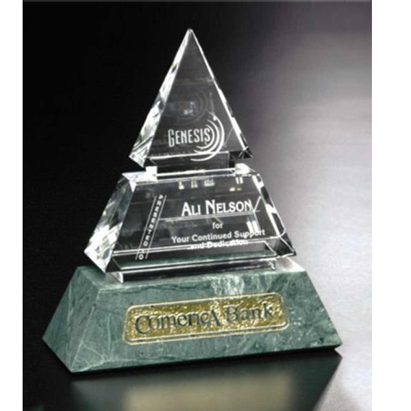 "Verde Gallery Vandalia - 7"" X 8"" X 3"" - Pyramid Shaped Award Made Of Marble And Crystal Photo"