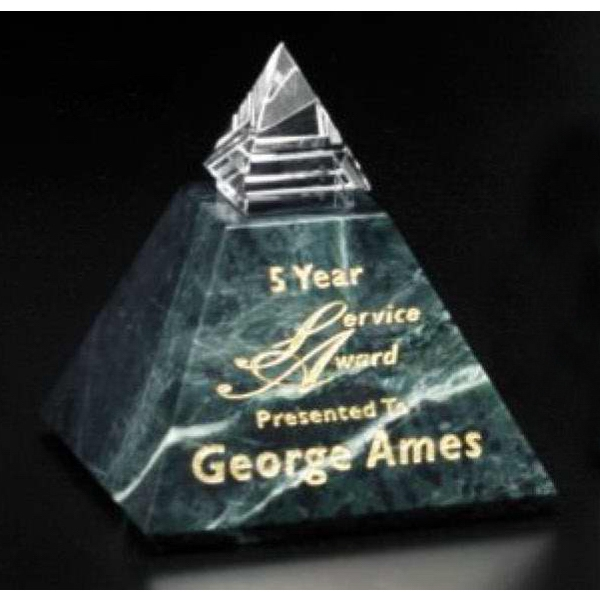 "Verde Gallery Vernita Peak - 3"" X 3 1/4"" X 3"" - Peak Award Made Of Green Marble And Optical Crystal Photo"