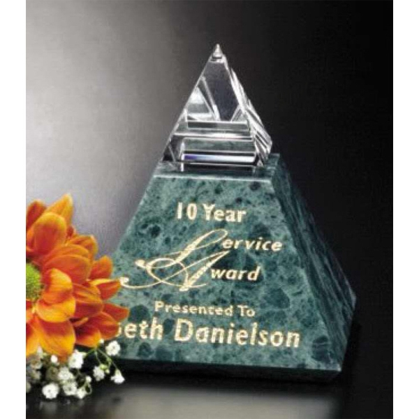 "Verde Gallery Vernita Peak - 3 1/2"" X 4"" X 3 1/2"" - Peak Award Made Of Green Marble And Optical Crystal Photo"
