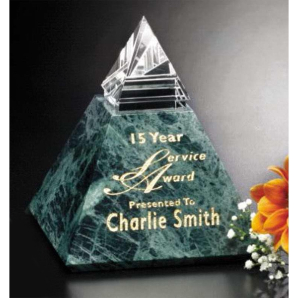 "Verde Gallery Vernita Peak - 4"" X 4 1/2"" X 4"" - Peak Award Made Of Green Marble And Optical Crystal Photo"