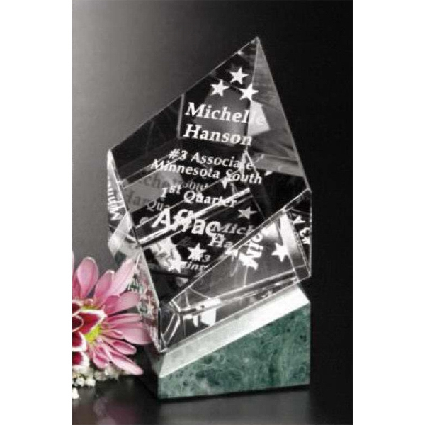 "Verde Gallery Vicksburg - 3 1/4"" X 4 1/2"" X 3 1/4"" - Award Made Of Green Marble And Optical Crystal Photo"