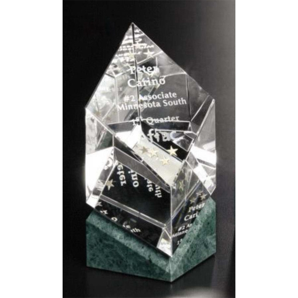 "Verde Gallery Vicksburg - 3 1/4"" X 5 1/2"" X 3 1/4"" - Award Made Of Green Marble And Optical Crystal Photo"