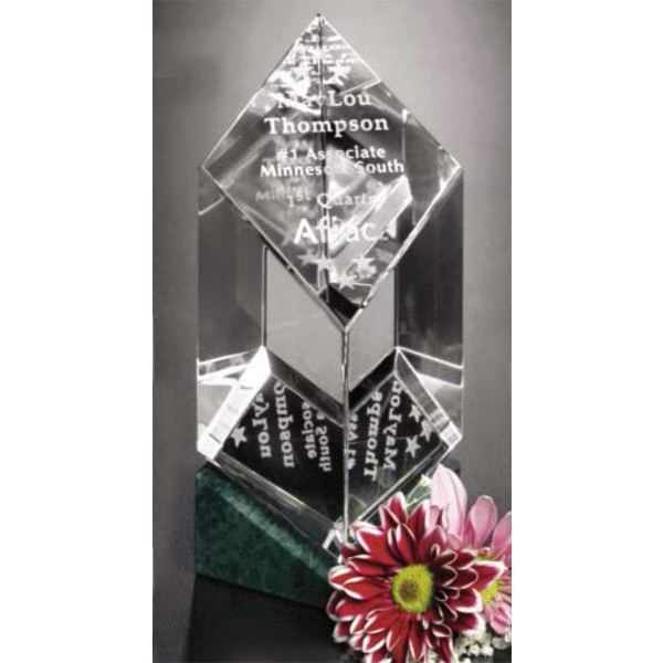 "Verde Gallery Vicksburg - 3 1/4"" X 6 1/2"" X 3 1/4"" - Award Made Of Green Marble And Optical Crystal Photo"