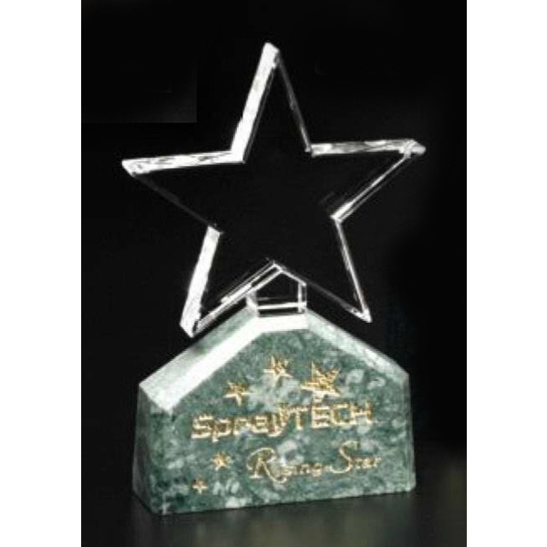 "Verdant Star Verde Gallery - 3 1/2"" X 6"" X 1 1/4"" - Star Shaped Crystal Award With Green Marble Base Photo"