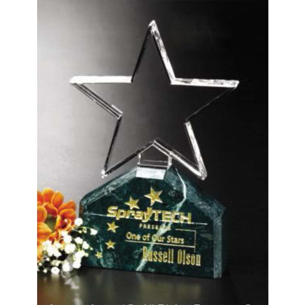 "Verdant Star Verde Gallery - 4 1/4"" X 7"" X 1 1/4"" - Star Shaped Crystal Award With Green Marble Base Photo"