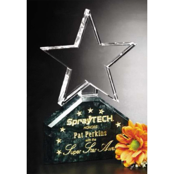 "Verdant Star Verde Gallery - 4 3/4"" X 8"" X 1 3/4"" - Star Shaped Crystal Award With Green Marble Base Photo"