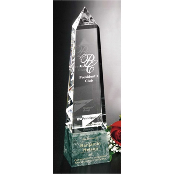 "Verde Gallery Verona Peak - Peak Award Made Of Green Marble And Optical Crystal, 12 3/4"" Photo"