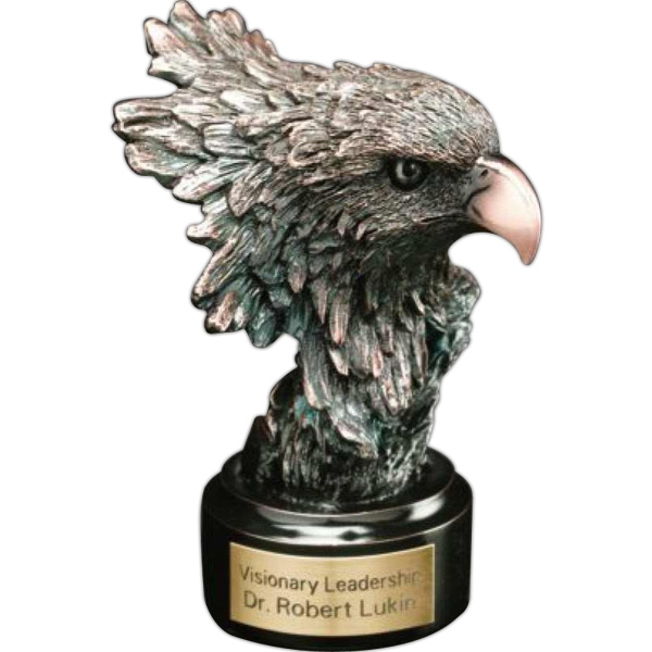 "Eagle Gallery - Bronze Plated Resin Base 2 1/"" X 1 1/2"" Eagle Head Award. Blank Photo"