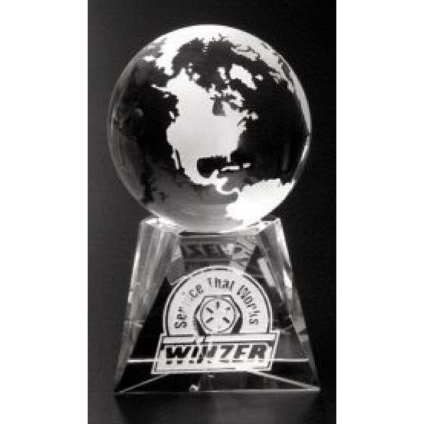 "Triad Globe Global Gallery - 2 3/8"" - Globe Award Made Of Optical Crystal Photo"