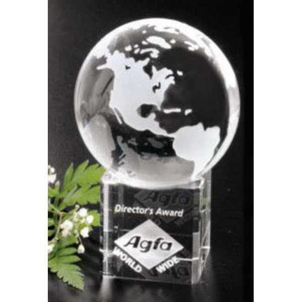 "Stratus Globe Global Gallery - 2 3/8"" - Globe Award Made Of Optical Crystal Photo"