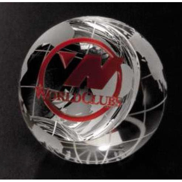 "Global Gallery - 2 3/8"" X 2 3/8"" - Clipped Globe Paperweight Made Of Optical Crystal Photo"