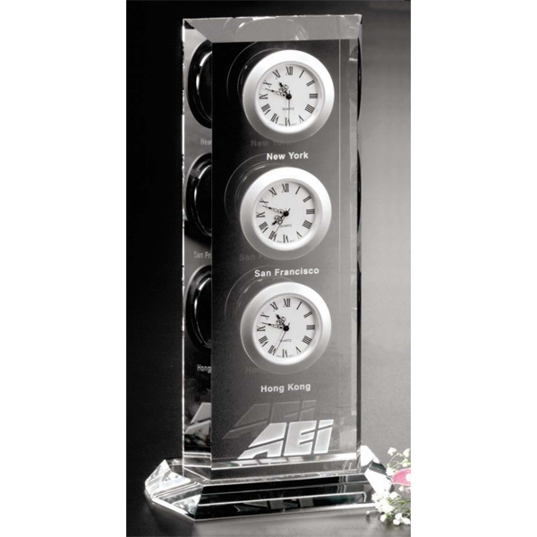 "Trilogy Clock Gallery - Optical Crystal Award With Clock 4 1/2"" X 9"" X 2"" Photo"