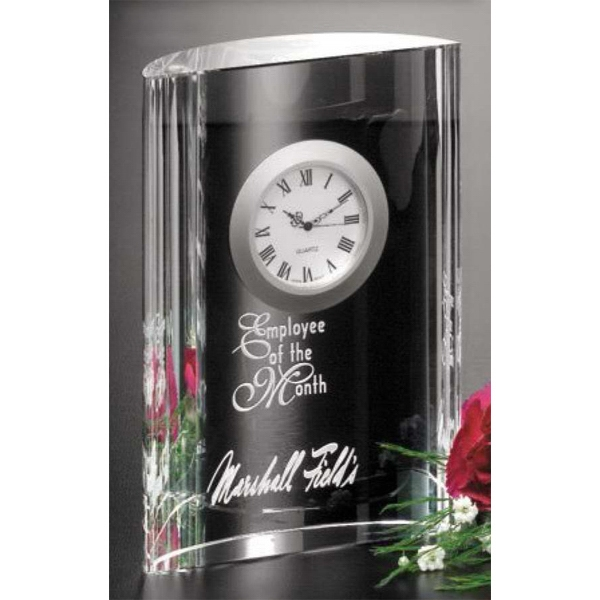"Greenwich Clock Gallery - 4 1/4"" X 6"" X 1 1/2"" - Optical Crystal Award With Clock Photo"
