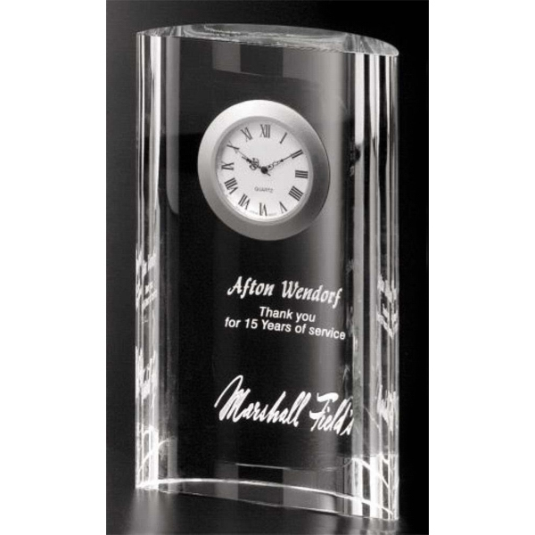 "Greenwich Clock Gallery - 4 1/4"" X 7"" X 1 1/2"" - Optical Crystal Award With Clock Photo"