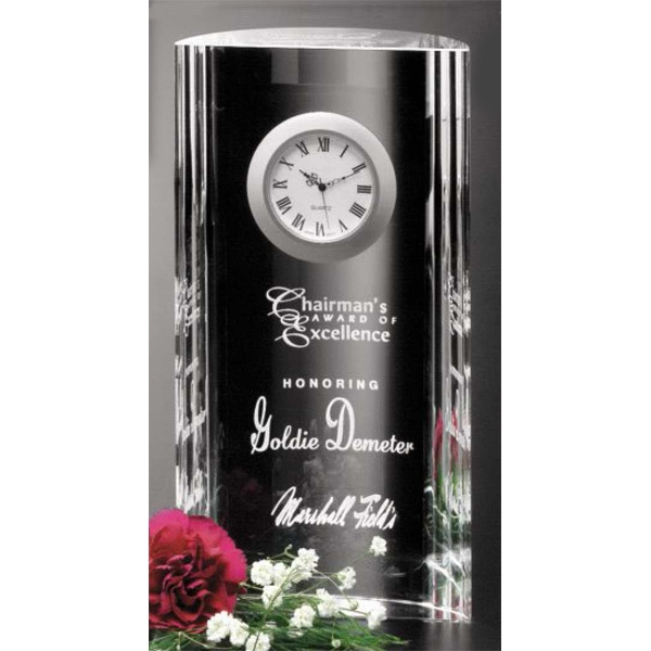 "Greenwich Clock Gallery - 4 1/4"" X 8"" X 1 1/2"" - Optical Crystal Award With Clock Photo"