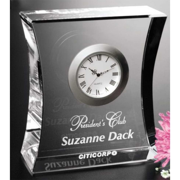 "Expectation Clock Gallery - Optical Crystal Award With Clock 4 1/2"" X 5 1/4"" X 1 3/4"" Photo"