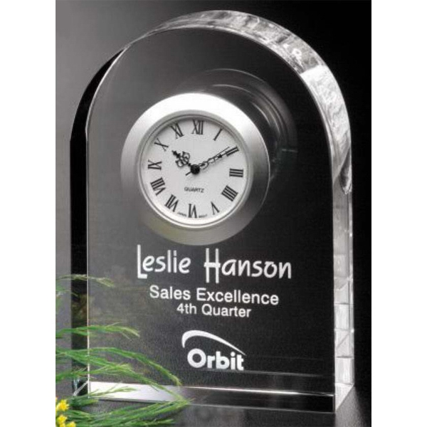 "Rutledge Clock Gallery - Optical Crystal Clock Award 3 1/8"" X 4 1/2"" X 1 1/4"" Photo"