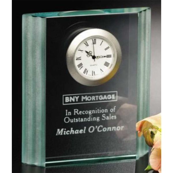 "Jade Wave Clock Gallery - Jade Crystal Award With Clock 4"" X 4 1/2"" X 3/4"" Photo"