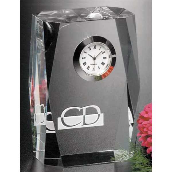 "Dunbar Clock Gallery - Optical Crystal Award With Clock 2 3/8"" X 3 1/2"" X 1 1/2"" Photo"