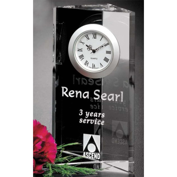 "Nordic Clock Gallery - Optical Crystal 2 3/4"" X 5"" X 1 1/2"" Clock Award Photo"