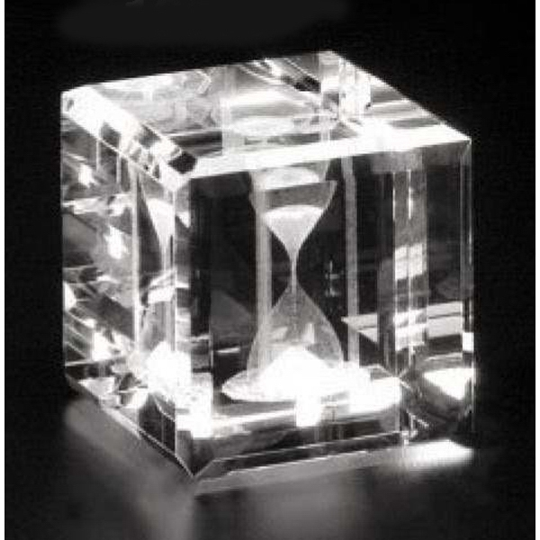 "Crystal 3d Gallery - 2"" X 2"" X 2"" - Optical Crystal Cube Award, Square Shape Photo"