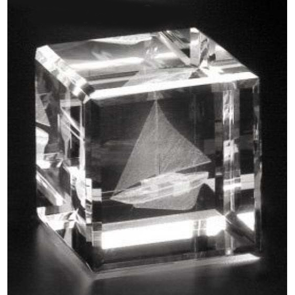 "Crystal 3d Gallery - 2 3/8"" X 2 3/8"" X 2 3/8"" - Optical Crystal Cube Award, Square Shape Photo"
