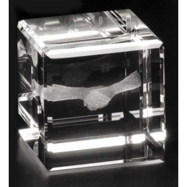"Crystal 3d Gallery - 3"" X 3"" X 3"" - Optical Crystal Cube Award, Square Shape Photo"
