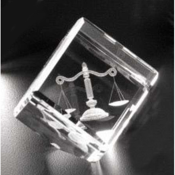 "Crystal 3d Gallery - 1 1/2"" X 1 1/2"" X 1 1/2"" - Optical Crystal Award With A Cut In The Corner Photo"