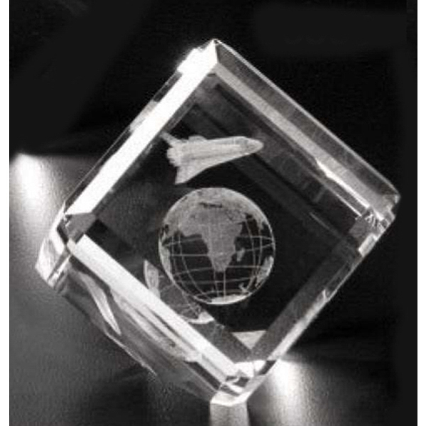 "Crystal 3d Gallery - 2"" X 2"" X 2"" - Optical Crystal Award With A Cut In The Corner Photo"