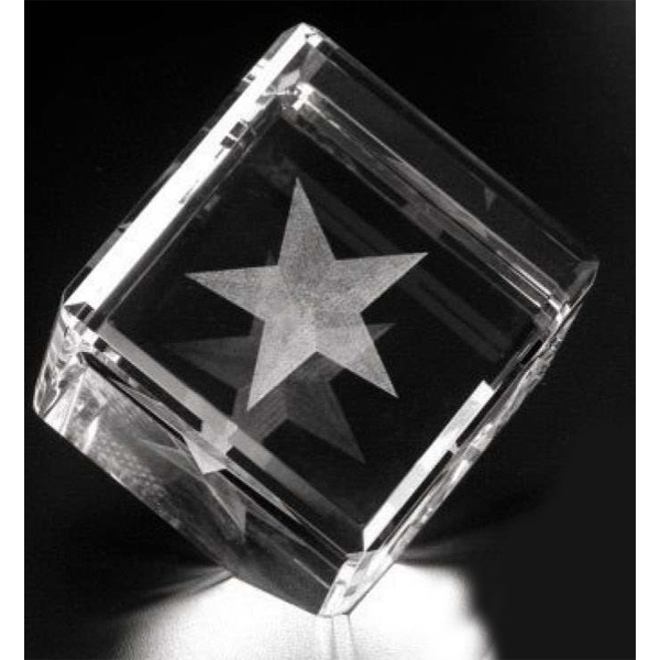 "Crystal 3d Gallery - 3"" X 3"" X 3"" - Optical Crystal Award With A Cut In The Corner Photo"