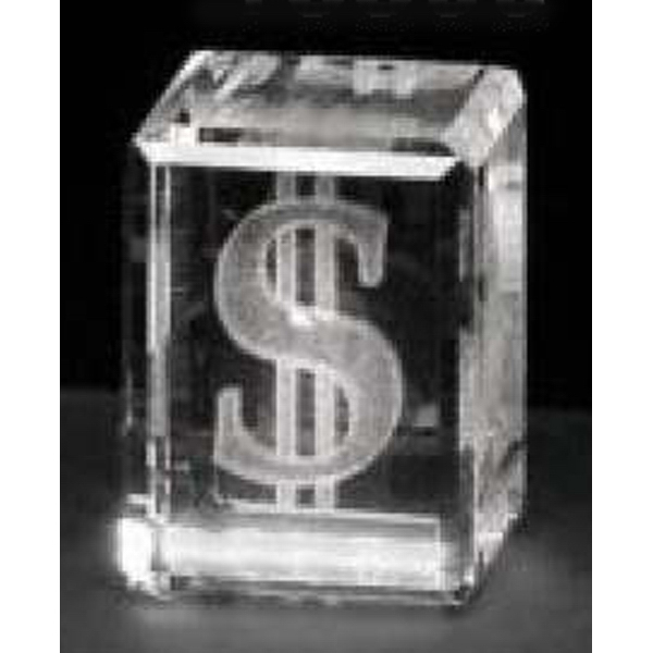 "Crystal 3d Gallery - 1 5/8"" X 1 1/4"" X 1 1/4"" - Optical Crystal 3d Cube Award Photo"