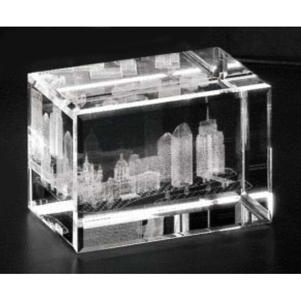 "Crystal 3d Gallery - 3"" X 2"" X 2"" - Optical Crystal 3d Cube Award Photo"