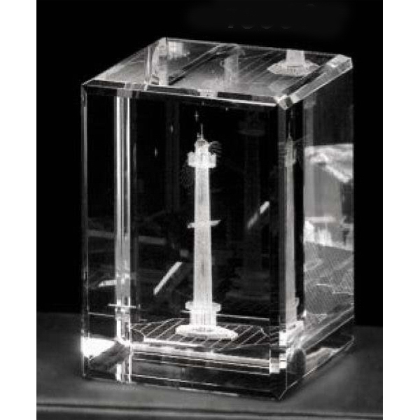 "Crystal 3d Gallery - 3 1/2"" X 2 1/2"" X 2 1/2"" - Optical Crystal 3d Cube Award Photo"