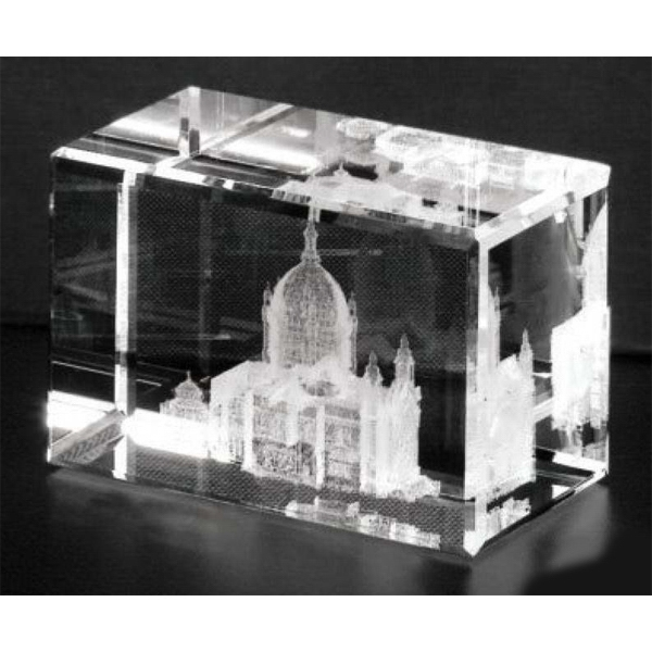 "Crystal 3d Gallery - 4 1/2"" X 3"" X 2 1/2"" - Optical Crystal 3d Cube Award Photo"