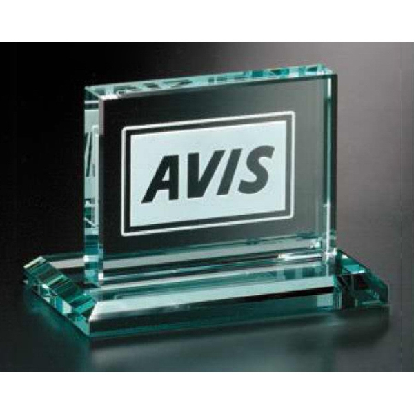 "Huntington Jade Gallery - Jade Crystal Rectangle Award, 4"" X 3 1/2"" X 3"" Photo"