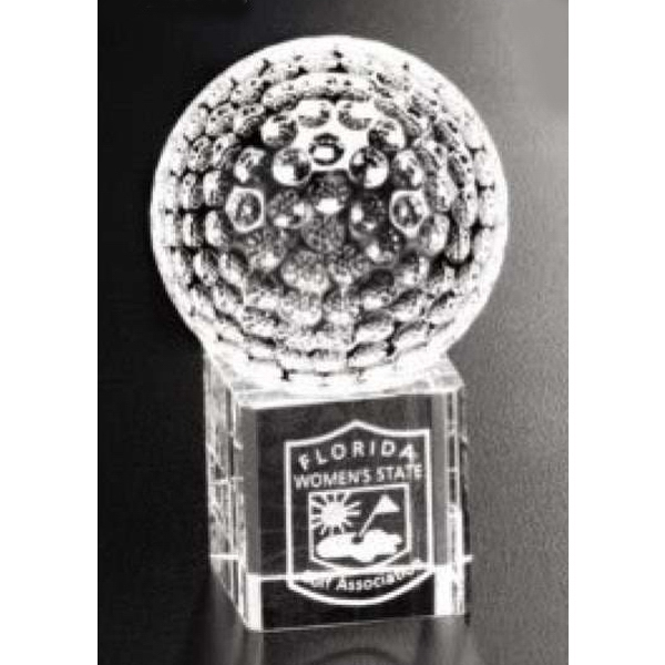 "Stratus Sports Gallery - 1"" X 1 1/4"" - Optical Crystal Golf Ball Award With Base Photo"