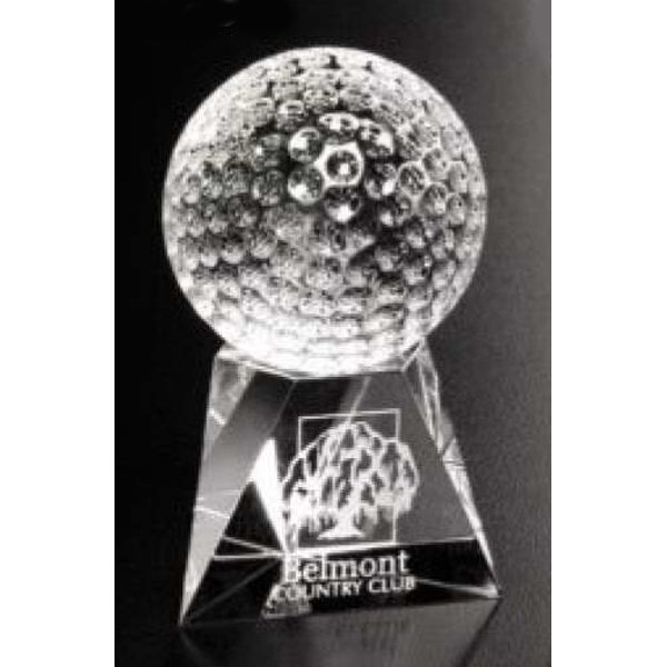 "Triad Sports Gallery - 1 1/4"" X 1 1/4"" - Optical Crystal Golf Award On Base Photo"