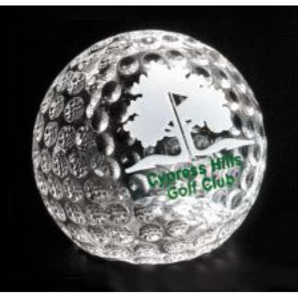 "Sports Gallery - Optical Crystal Clipped Golf Ball Award, 2 3/8"" X 2 3/8"" Photo"