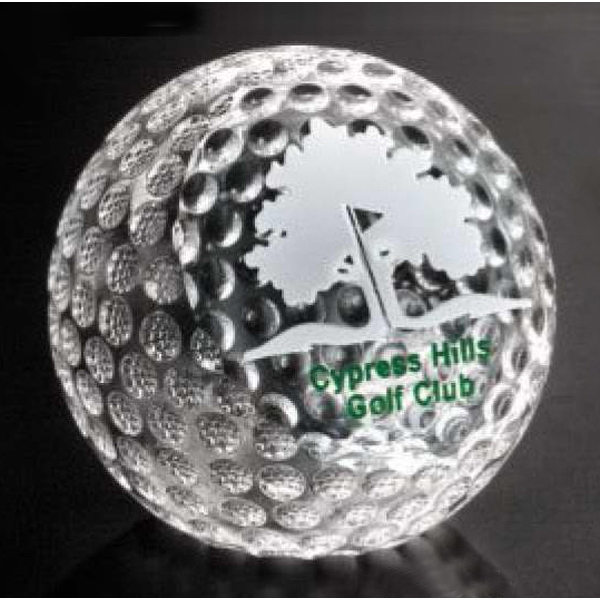 "Sports Gallery - Optical Crystal Clipped Golf Ball Award, 3 1/8"" X 3 1/8"" Photo"