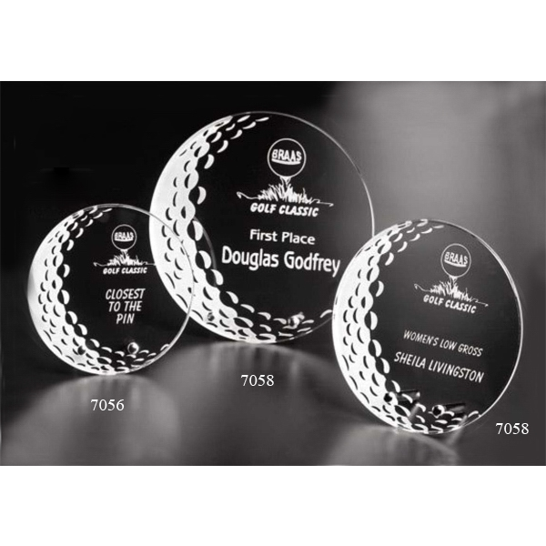"Burnhaven Sports Gallery - 6"" X 1/4"" - Starfire Crystal Golf Award Photo"
