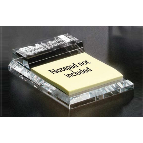 Kelsey Distinctive Gift Gallery - Optical Crystal Notepad Holder Photo