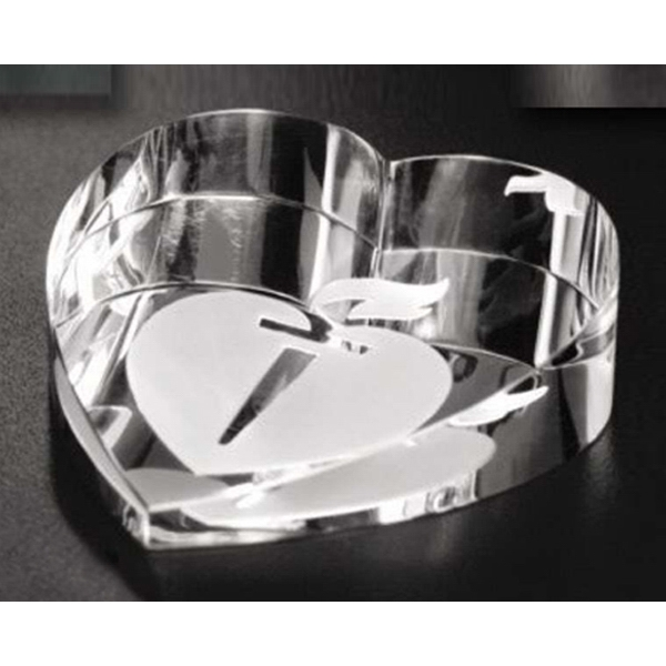 Distinctive Gift Gallery - Optical Crystal Slant Heart Paperweight Photo