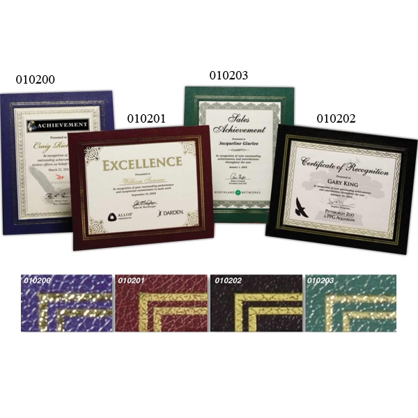 Certificate Gallery - Blue-gold - Certificate Holder Made Of Stimulated Leather Fiber Board Photo