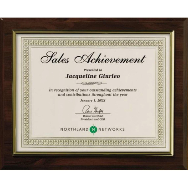 Certificate Gallery - Gold Trim - Walnut Finish Certificate Holder Photo
