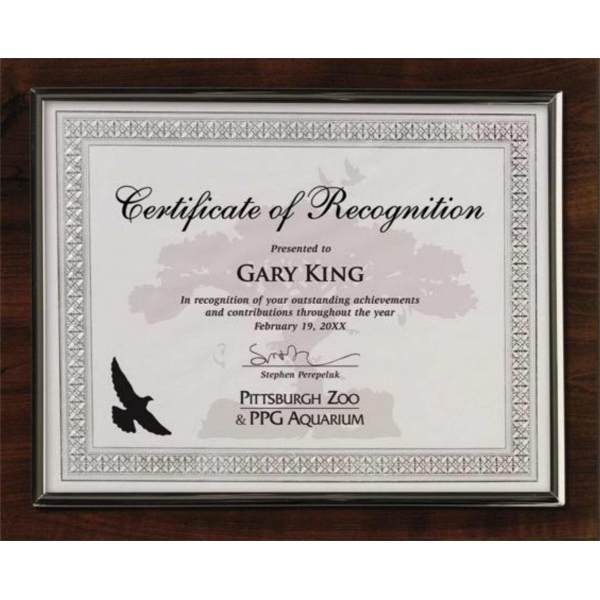 Certificate Gallery - Silver Trim - Walnut Finish Certificate Holder Photo