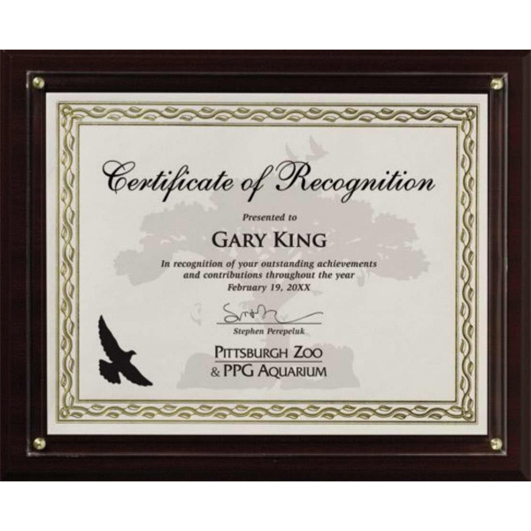 Certificate Gallery - Walnut Finish Certificate Holder With Slide-in Photo