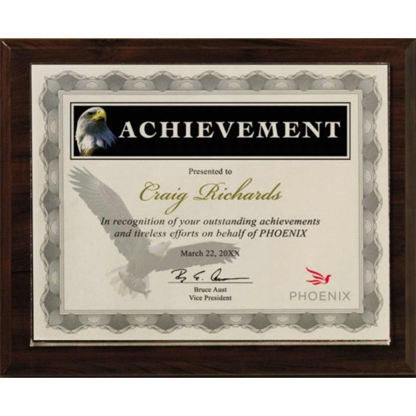 Certificate Gallery - Walnut Finish Certificate Holder With Split-in Photo