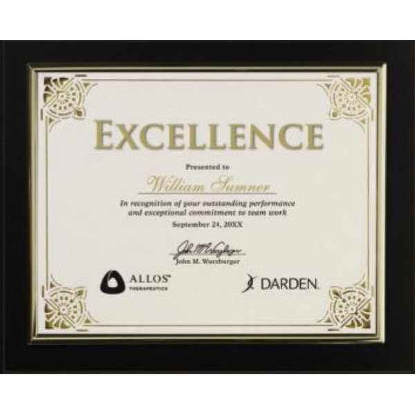 Certificate Gallery - Black Finish Certificate Holder With Gold Trim Photo