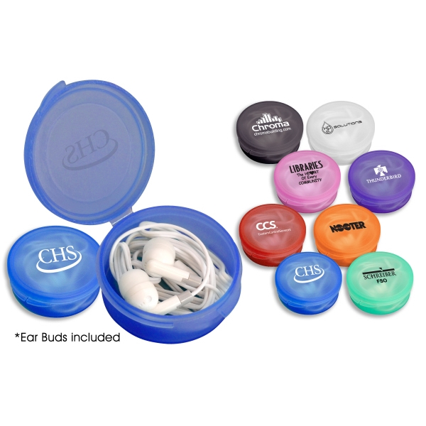 1 Working Day - White Travel Ear Buds In A Round Container. Container Also Serves As A Pill Case Photo