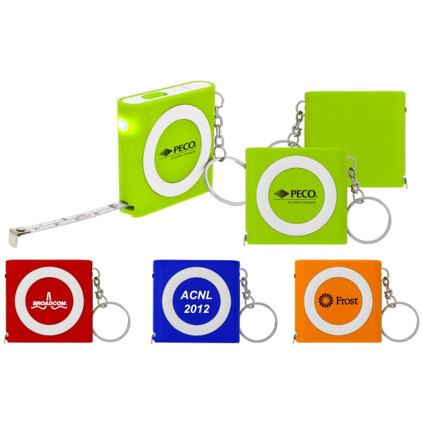 "I Lighted - 7 Working Days - Lighted 39"" Metal Tape Measure With Keyring. 4 Colors Photo"